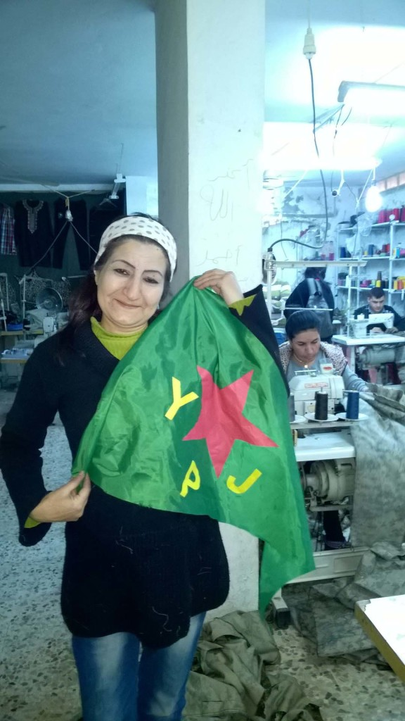Warshin women's sewing co-operative makes a lot of YPG and YPJ uniforms and flags