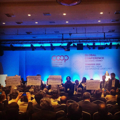 International Cooperative Alliance delegates stage action in support of cooperatives in Turkey and Syria.